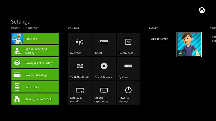 control parental configuración Xbox One