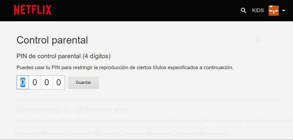 pin parental Netflix