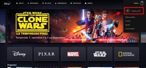 añadir perfil Disney Plus